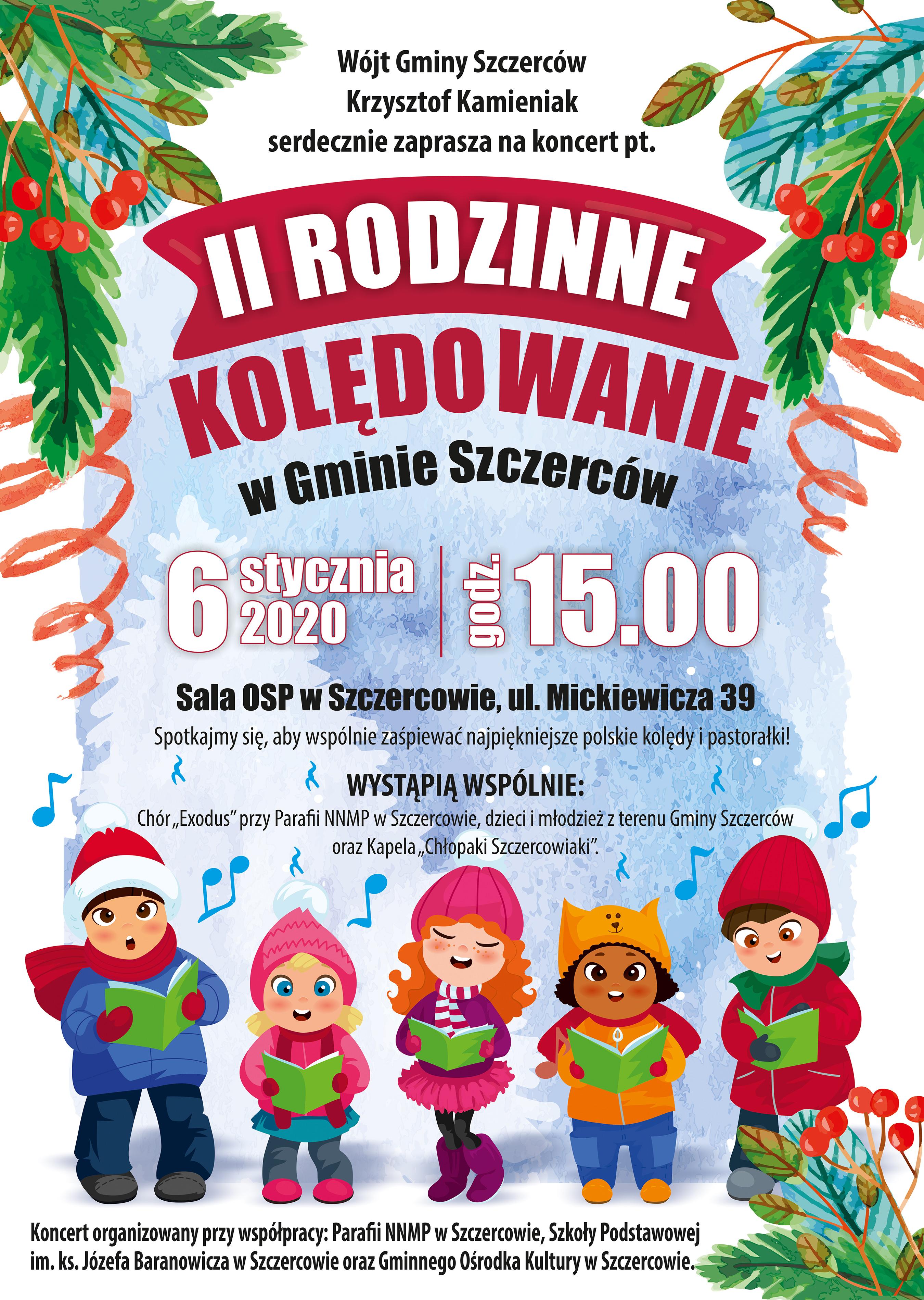 GOK Szczerców - plakat A3 rodzinne kolendowanie WWW