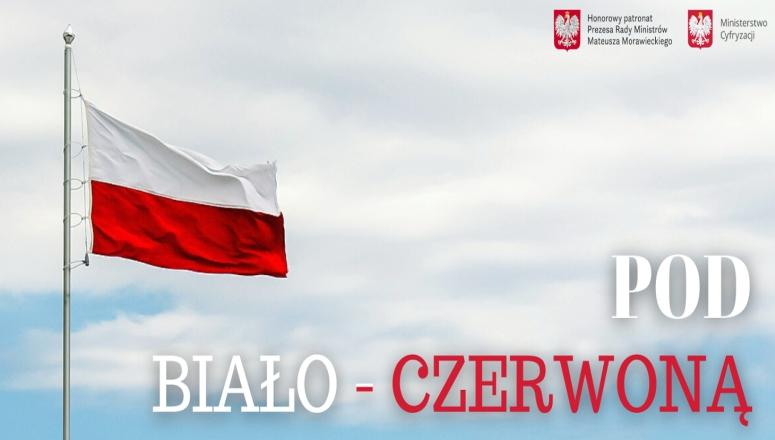 Obraz zawiera flagę biało-czerwoną i tekst zachęcający do udziału w ankiecie